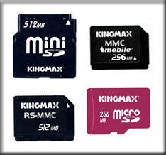 mini SD 512MB, MicroSD 256MB, MMC Mobile 256MB, RS MMC 512MB